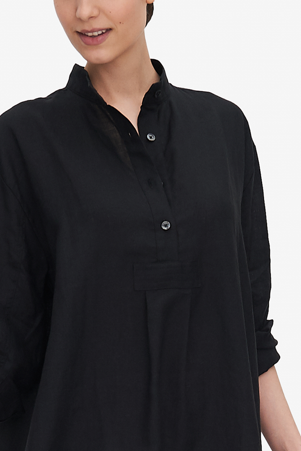 Long Sleep Shirt Black Linen