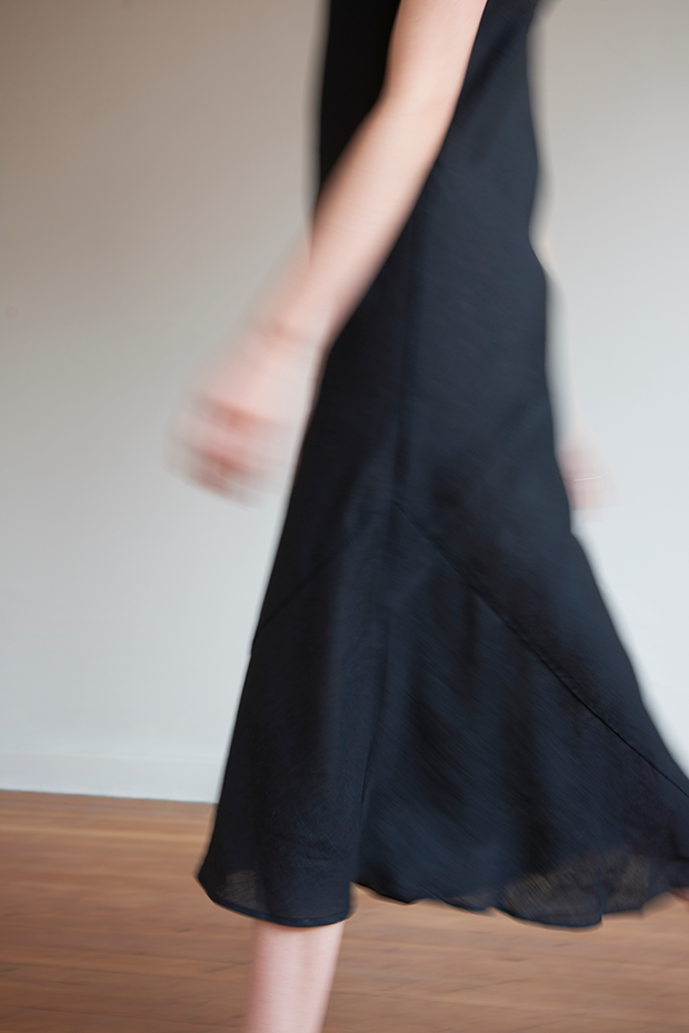 Long Slip Dress Black Linen