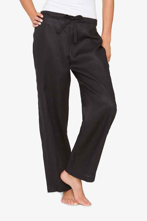 The classic lounge pants in black linen by the Sleep Shirt. The drawstring is black twill tape, and the back waist is elastic to ensure the best fit.