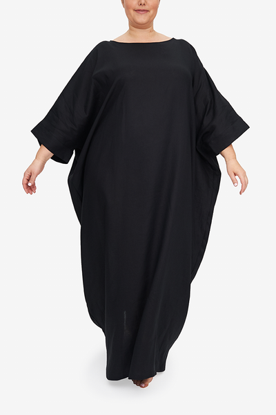 Oversized Kaftan Black Linen PLUS