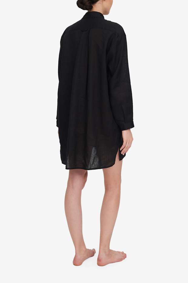 Short Sleep Shirt Black Linen
