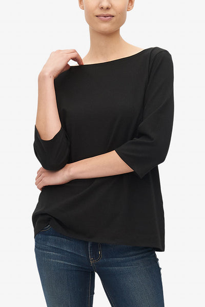 Boat Neck T-Shirt Black Stretch Jersey