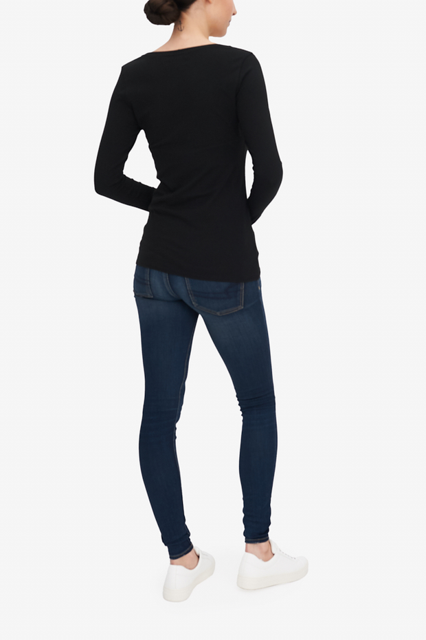 Long Sleeve Scoop Neck T-Shirt Black Stretch Jersey