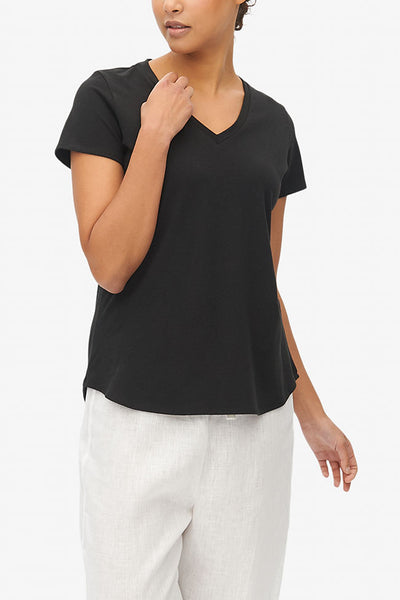 Short Sleeve V Neck T-Shirt Black Stretch Jersey