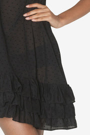 Ruffle Nightie Black Swiss Dot