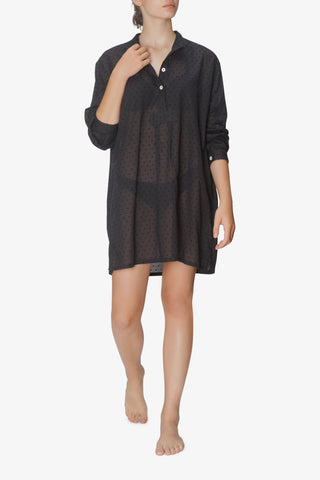 front view short sleep shirt black swiss dot cotton by the Sleep Shirt