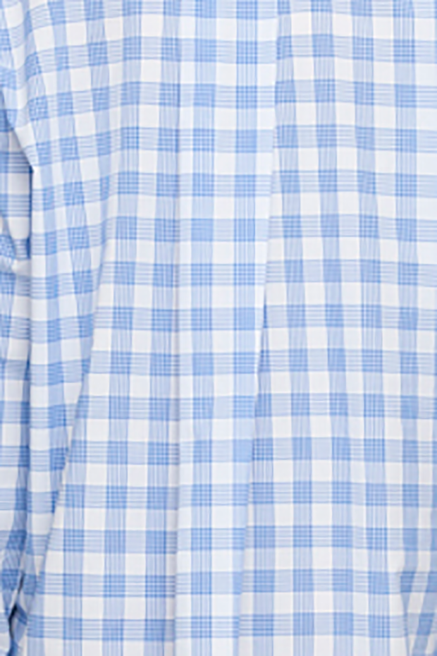 Short Sleep Shirt Blue & White Open Plaid