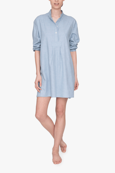 front view short sleep shirt blue cashmarello cotton cashmere blend by the Sleep Shirt