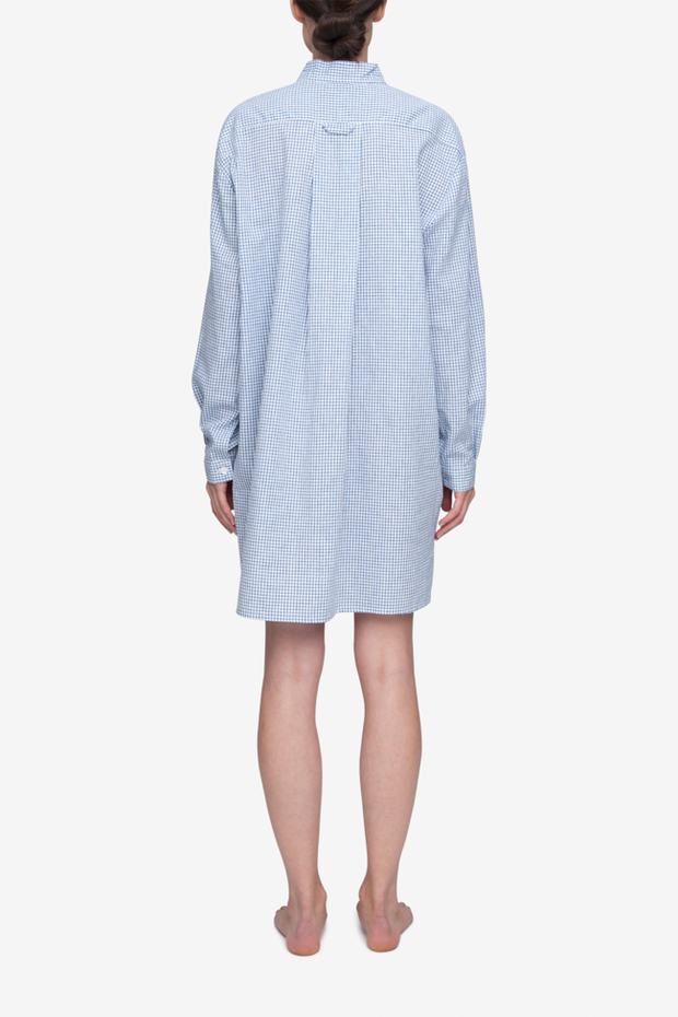 Short Sleep Shirt Blue Check Linen Blend
