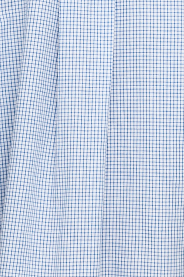 Placket Sleep Shirt Blue Check Linen Blend