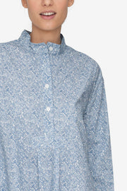 Short Sleep Shirt Blue Drawn Flowers