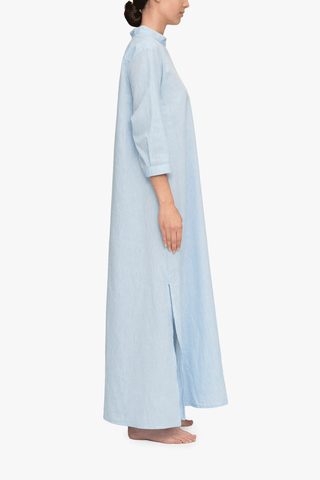 Full Length Sleep Shirt Blue Linen Blend