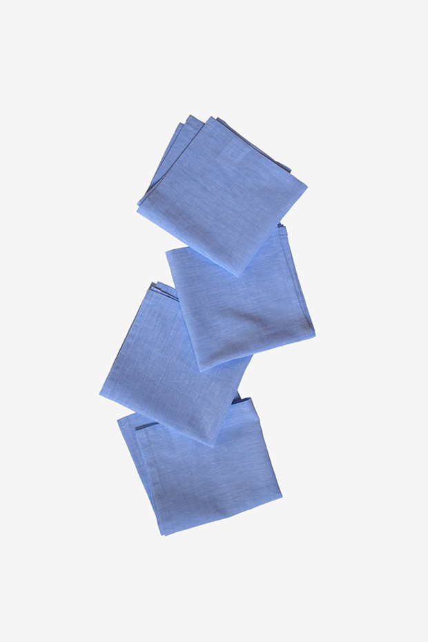 Small Blue Linen Blend Napkins - Set of 4