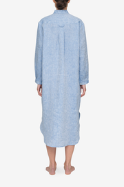 Ankle Length Sleep Shirt Blue Linen