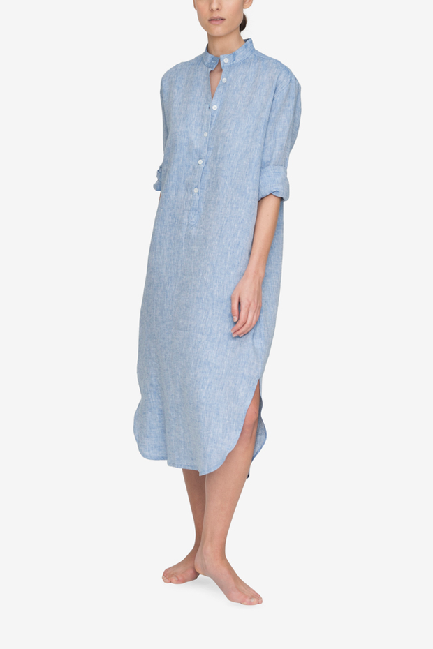 Front view Ankle Length Sleep Shirt Blue Linen by the Sleep Shirt