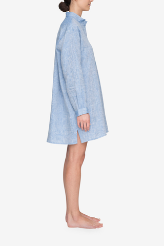Short Sleep Shirt Blue Linen