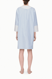 back view knee length v-neck shirt dress blue oxford stripe cotton by the Sleep Shirt
