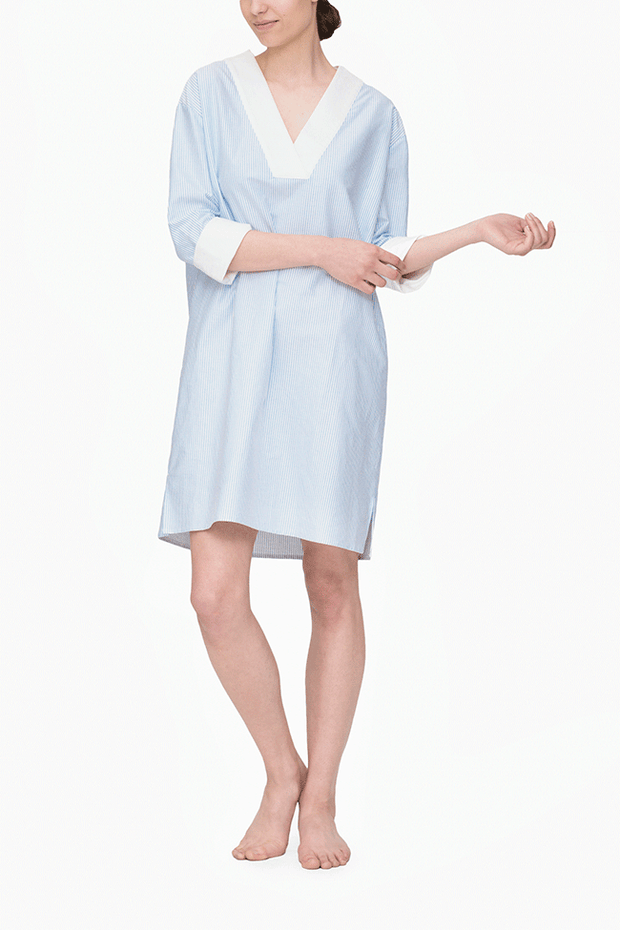 front view knee length v-neck shirt dress blue oxford stripe cotton by the Sleep Shirt
