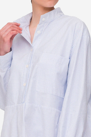 Pocket Sleep Shirt Blue Oxford Stripe