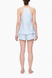 back view camisole tank top short with ruffle hem pajama set blue oxford stripe cotton by the Sleep Shirt