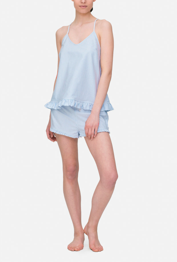 front view camisole tank top with ruffle hem set in blue oxford stripe cotton by the Sleep Shirt