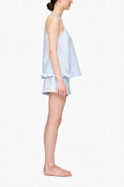 Set - Ruffle Camisole & Ruffle Short Blue Oxford Stripe