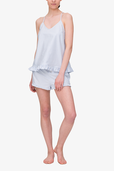 front view camisole tank top short with ruffle hem pajama set blue oxford stripe cotton by the Sleep Shirt
