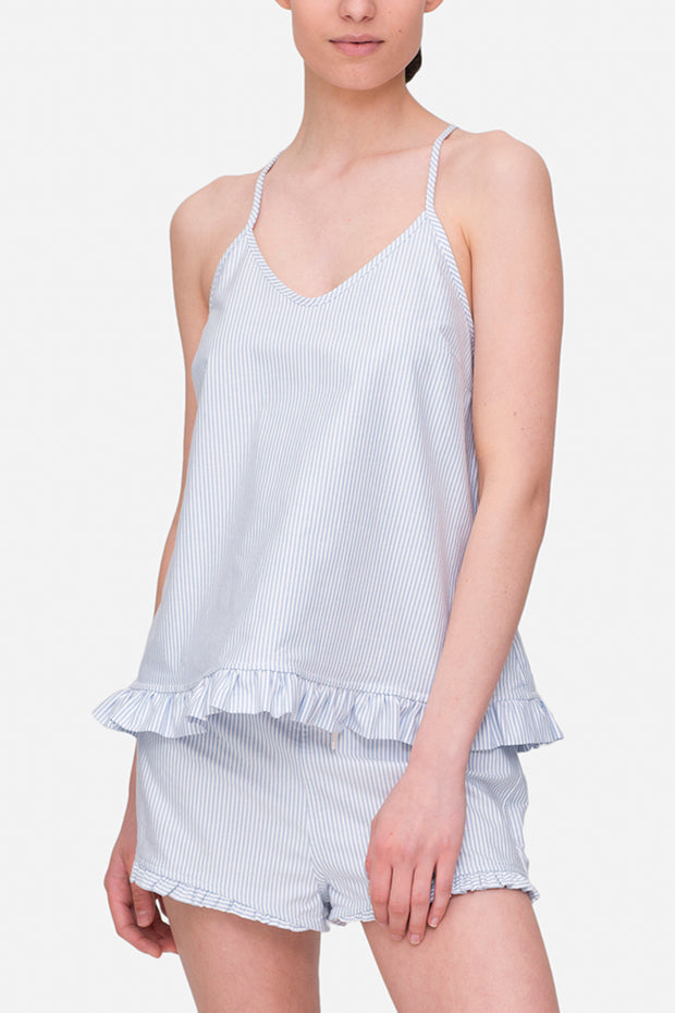 front view camisole tank top with ruffle hem in blue oxford stripe cotton by the Sleep Shirt