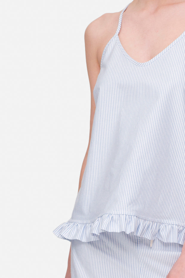 camisole tank top with ruffle hem in blue oxford stripe cotton by the Sleep Shirt pajama set