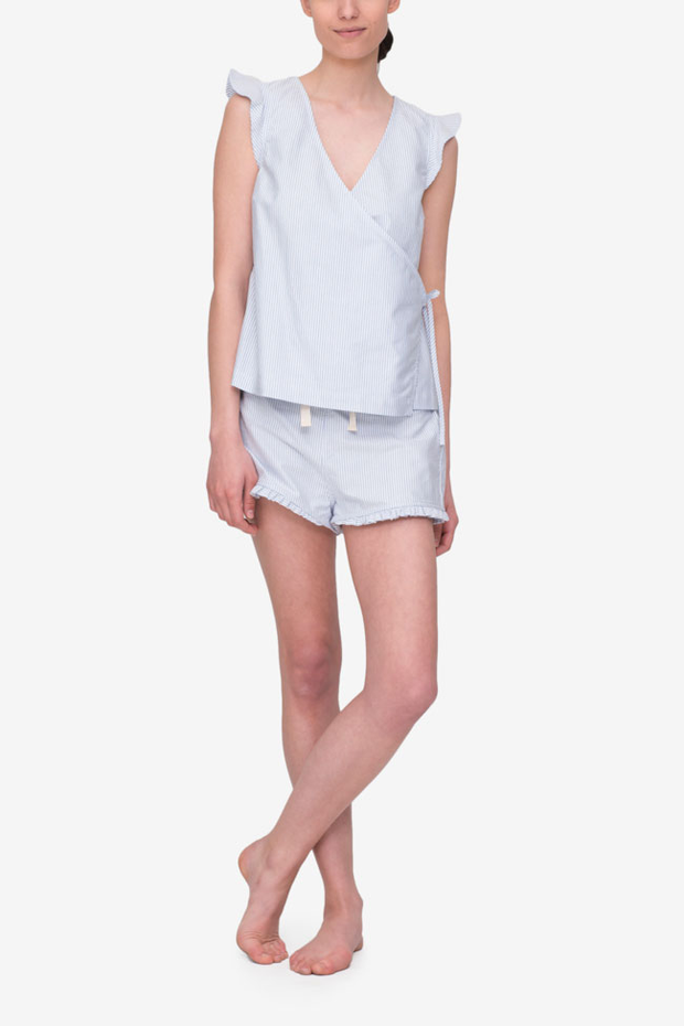 front view wrap top ruffled hem short pajama set blue oxford stripe cotton by the Sleep Shirt