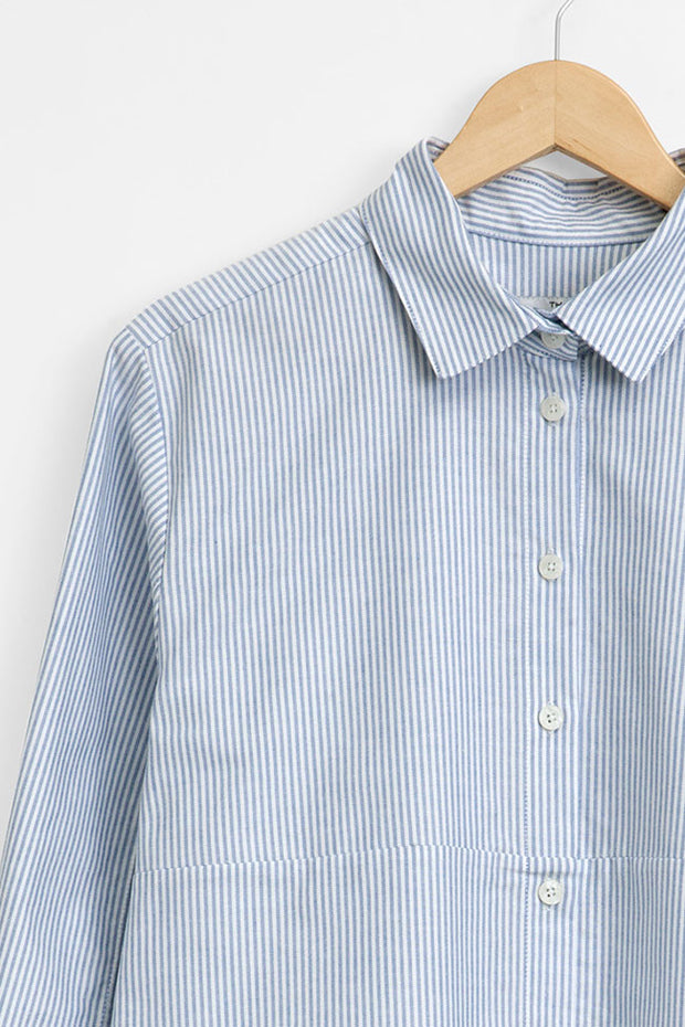 knee length button down sleep shirt blue oxford stripe by the Sleep Shirt