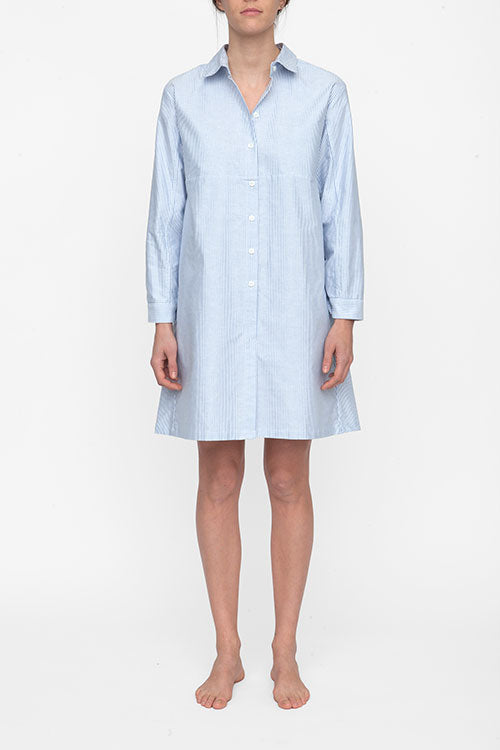 front view knee length button down sleep shirt cotton blue oxford stripe by the Sleep Shirt
