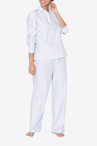 Set - Button Down Top and Lounge Pant Blue Oxford Stripe