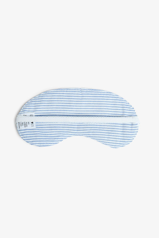 back view unisex bonne nuit blue oxford stripe cotton eyemask by The Sleep Shirt