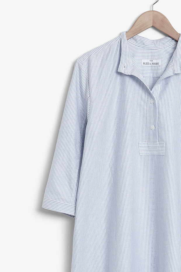 floor length sleep shirt cotton blue oxford stripe by the Sleep Shirt