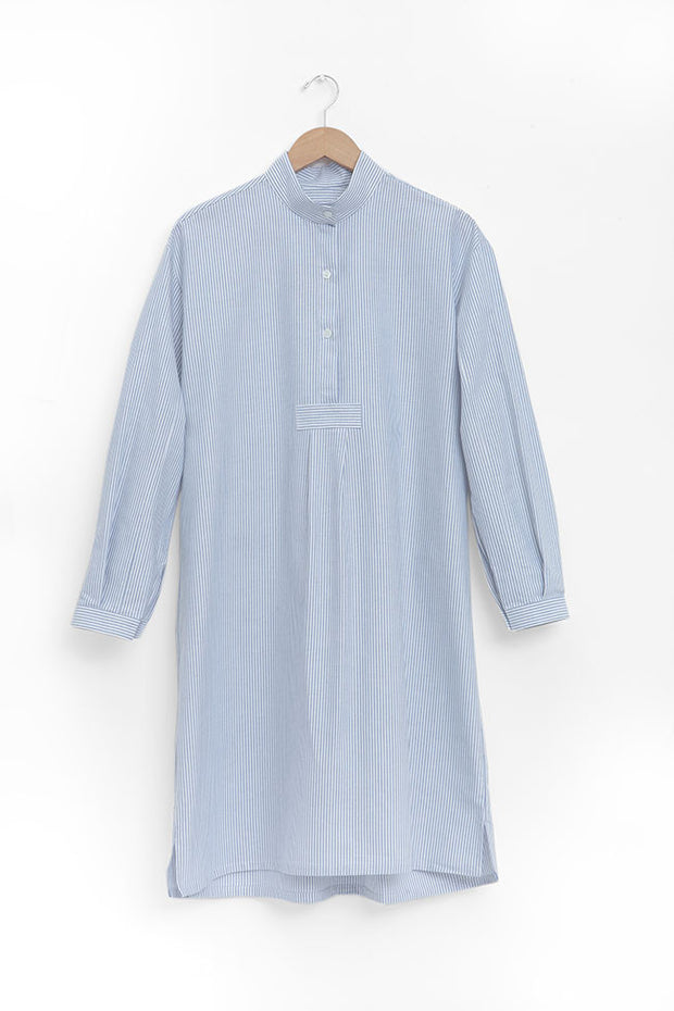 classic long sleep shirt blue oxford stripe cotton by the Sleep Shirt
