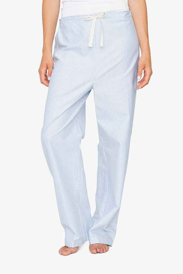 front view blue oxford stripe cotton lounge pants by the sleep shirt