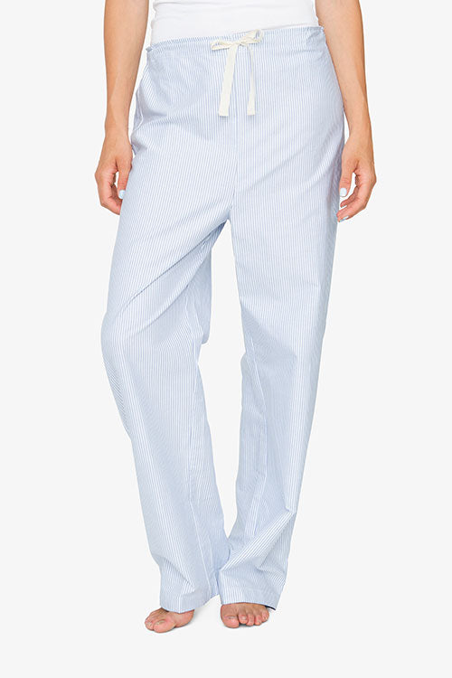 Set - Shawl Collar Top & Lounge Pant Blue Oxford Stripe