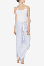 Set - Slip On Top and Lounge Pant Blue Oxford Stripe