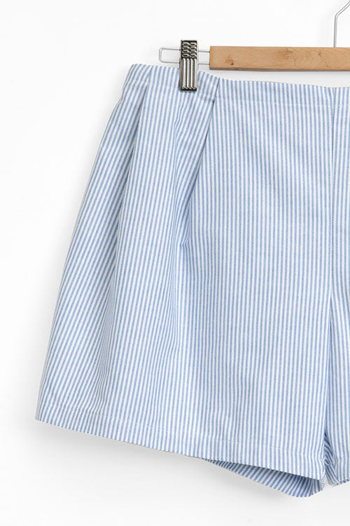 pleated shorts blue oxford stripe cotton by the Sleep Shirt on hanger