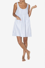 front view knee length pocket nightie blue oxford stripe cotton by the sleep shirt