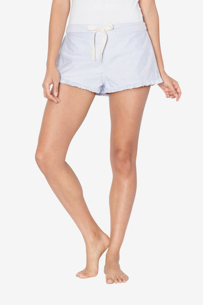 front view pajama shorts with ruffle hem in blue oxford stripe cotton by the Sleep Shirt