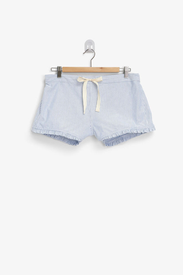 pajama shorts with ruffle hem in blue oxford stripe cotton by the Sleep Shirt