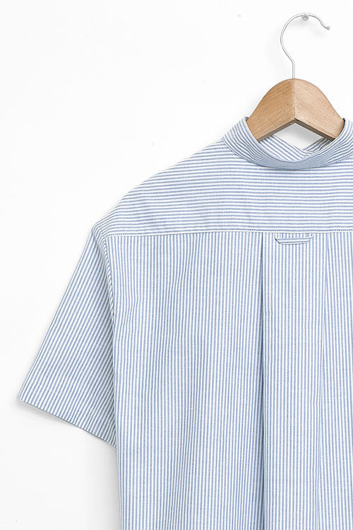 tshirt pajama set in blue oxford stripe cotton by The Sleep Shirt
