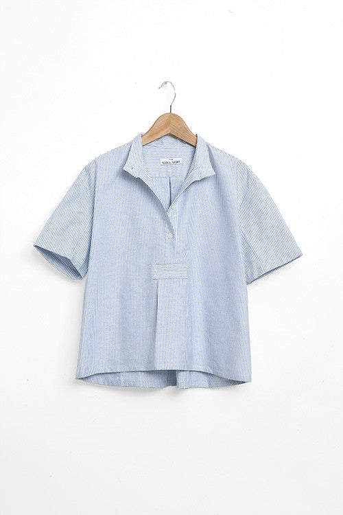 cropped pajama tshirt blue oxford stripe cotton on hanger by the Sleep Shirt