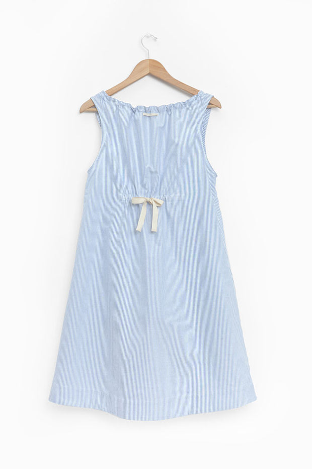 front view sleeveless adjustable neckline nightie nightgown blue oxford stripe cotton on hanger by the Sleep Shirt