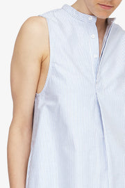 sleeveless knee length shirt in blue oxford stripe cotton by the Sleep Shirt