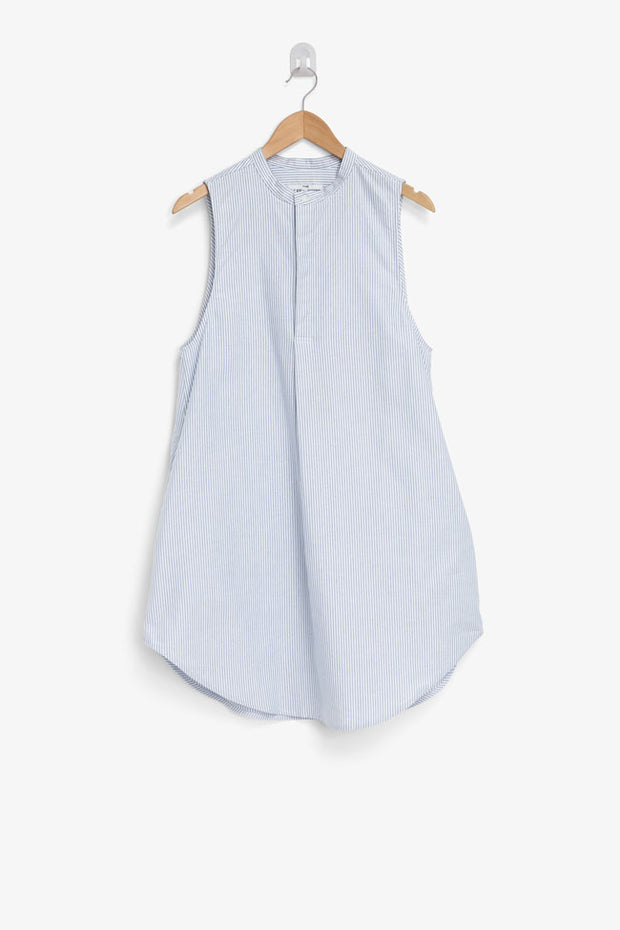 sleeveless knee length shirt in blue oxford stripe cotton on hanger by the Sleep Shirt