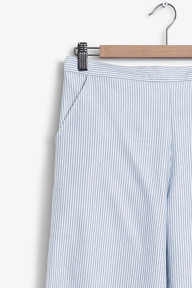 tapered pajama pants in blue oxford stripe cotton on hanger by the Sleep Shirt