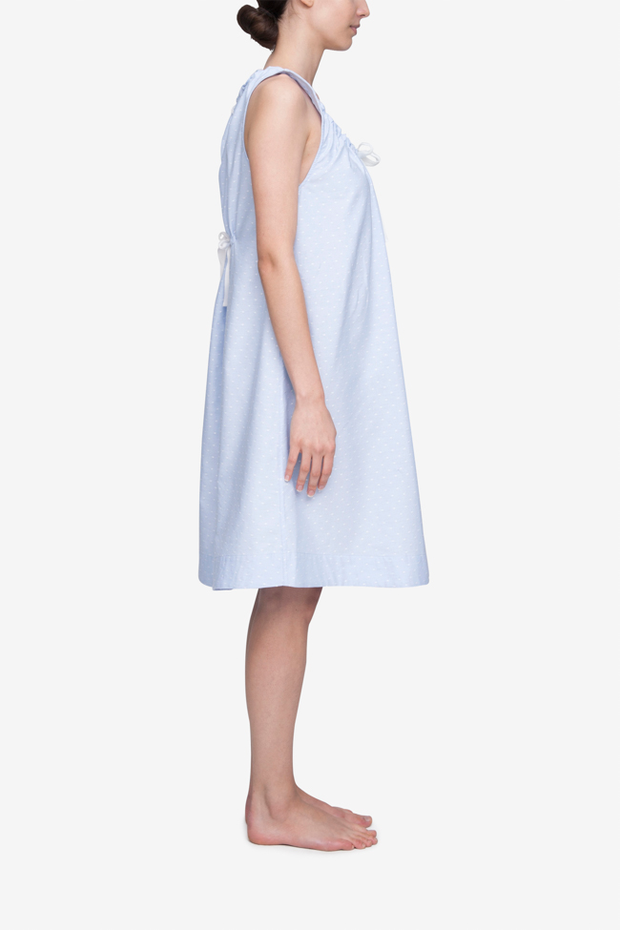 Sleeveless Nightie Blue Oxford Dot